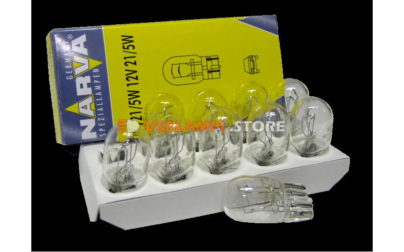 Лампа накаливания 2-контактная б/ц Narva W21/5W (W3x16g), 12v, 21/5w, цвет желтый, 1шт - 17919