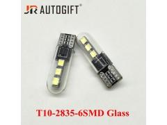 Светодиод JR Autogift 12v T10 6 SMD 2835 стекло белый