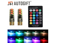 Светодиод JR Autogift 12v T10 12 SMD RGB с пультом 2шт.