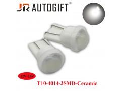 Светодиод JR Autogift 12-24v T10 3 SMD 4014 керамика линза белый