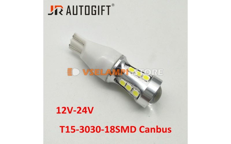 Светодиод JR Autogift 12-24v T15 18SMD 3030 обманка линза белый