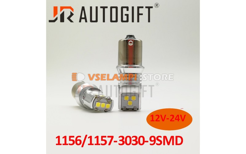 Светодиод JR Autogift 12-24v T25 9SMD 3030 без полярная 1 конт. белый