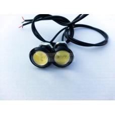 Точечные дневные ходовые огни DRL 045 3W 23мм COB диод чёрные врезные (2шт в коробке)