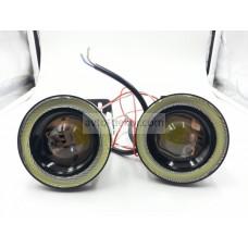 Фары линзованые 20W High Power chip с ангельскими глазками СОВ (врезные, на кронштейнах) D64мм