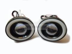 Фары линзованые 20W High Power SMD с ангельскими глазками D89мм