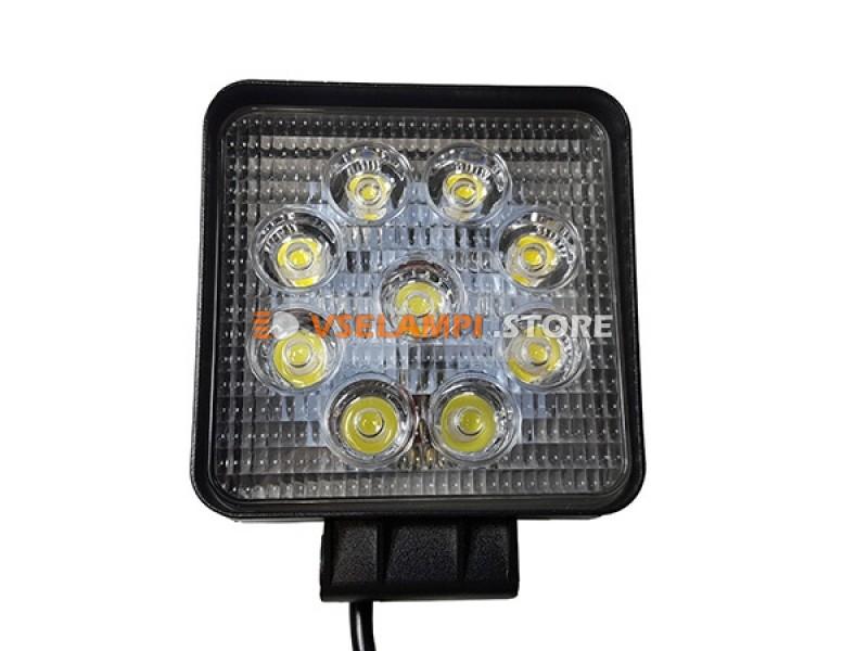 Прожектор квадратный 9-30V 27W 9SMD 105x105mm дальний, ближний - тип свечения дальний
