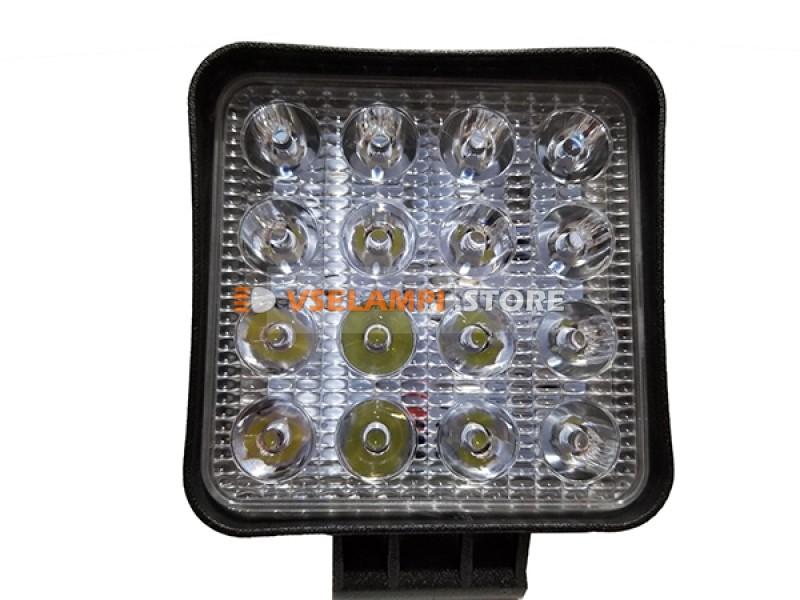 Прожектор квадратный 9-30V 48W 16SMD 105x105mm дальний, ближний - тип свечения ближний