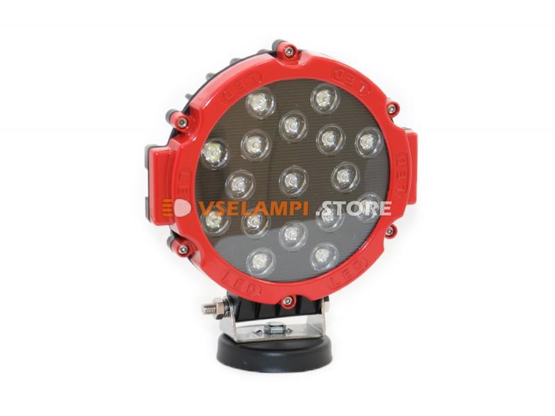 Прожектор 9-32V 51W 17SMD круглая 160x160mm дальний - цвет корпуса черный