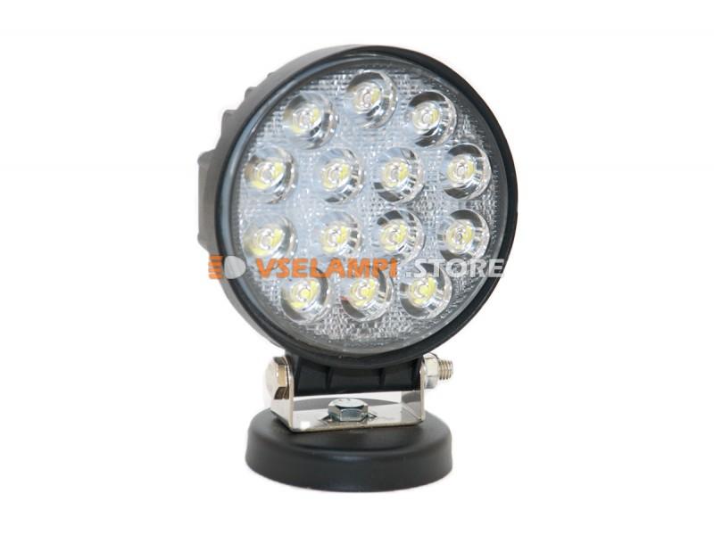 Прожектор 9-32V 27W 14SMD круглая 110x110mm дальний