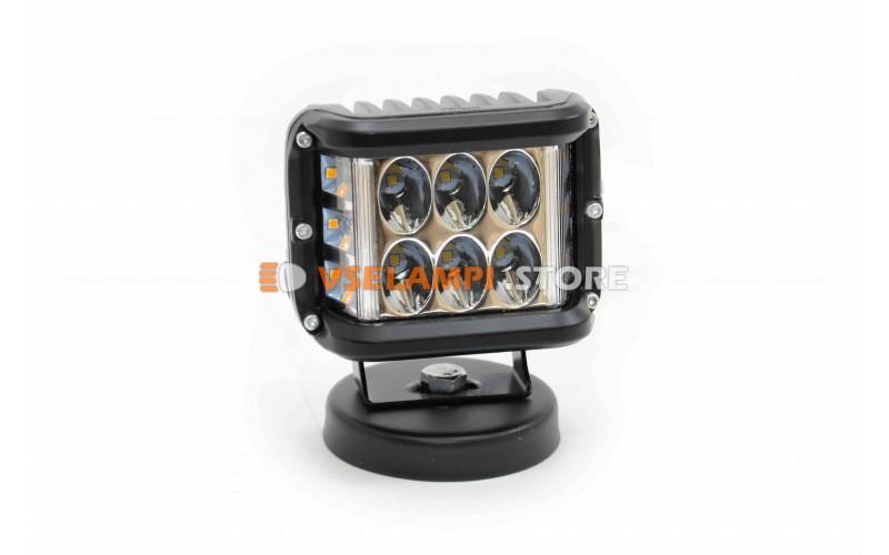 Прожектор 9-32V 36W 6+6SMD 100x75mm белый, оранжевый ближний + поворот