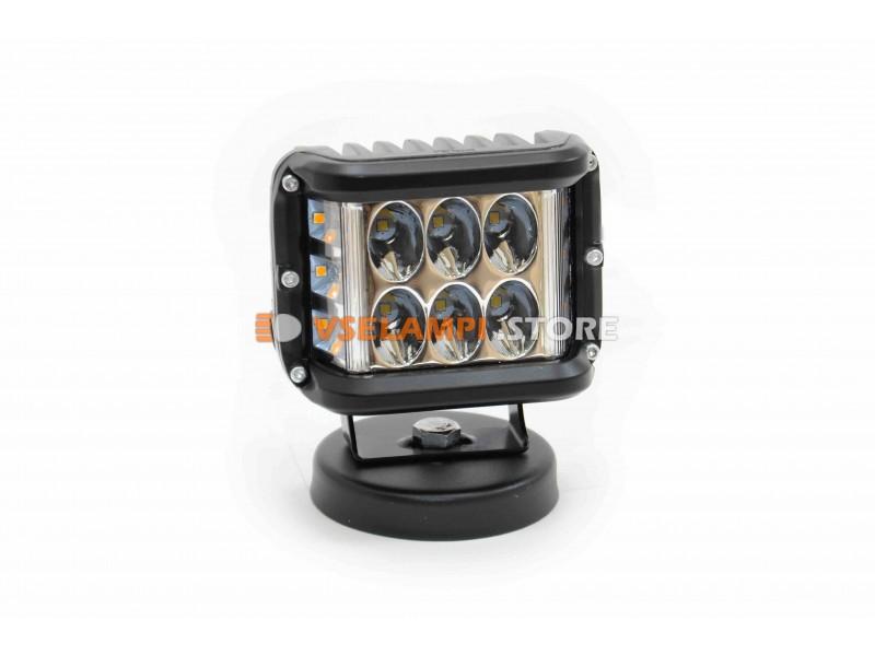 Прожектор 9-32V 36W 6+6SMD 100x75mm, белый - оранжевый, ближний + поворот