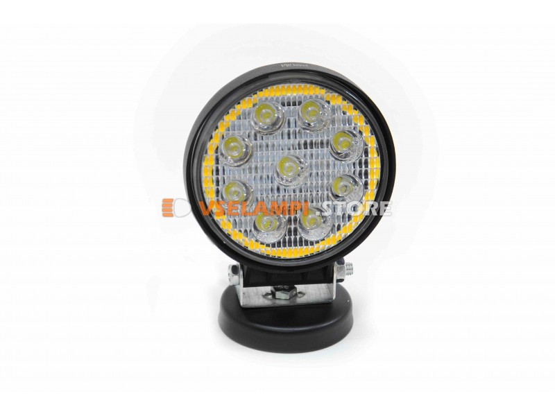 Прожектор 9-32V 27W 9SMD 115x115mm ближний + функция стробоскопа, белый + оранжевый