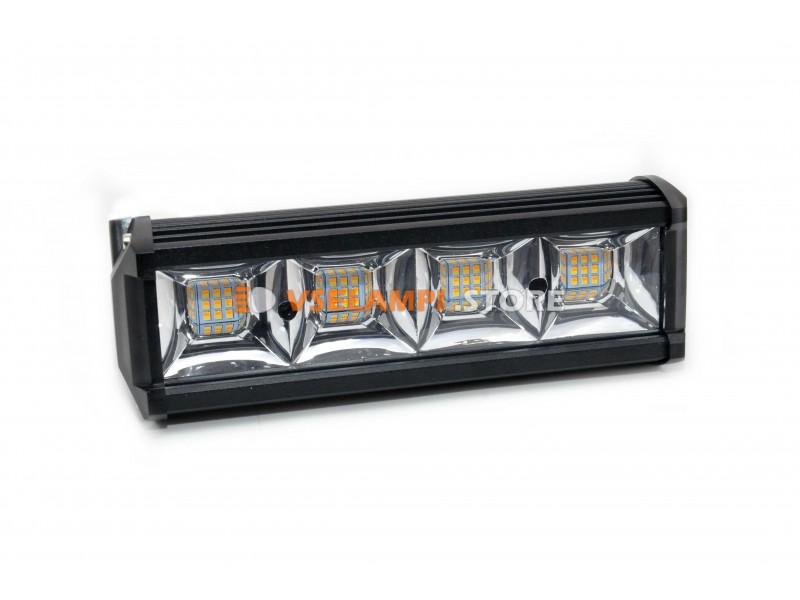 Прожектор 9-32V 432W 144SMD 670x80mm комбинированный + функция стробоскопа, белый + оранжевый