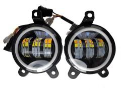 LED фары противотуманные AVTODECOR на LADA Priora, 30W, 2 режима, Б/Ж, + ДХО, 2 шт.
