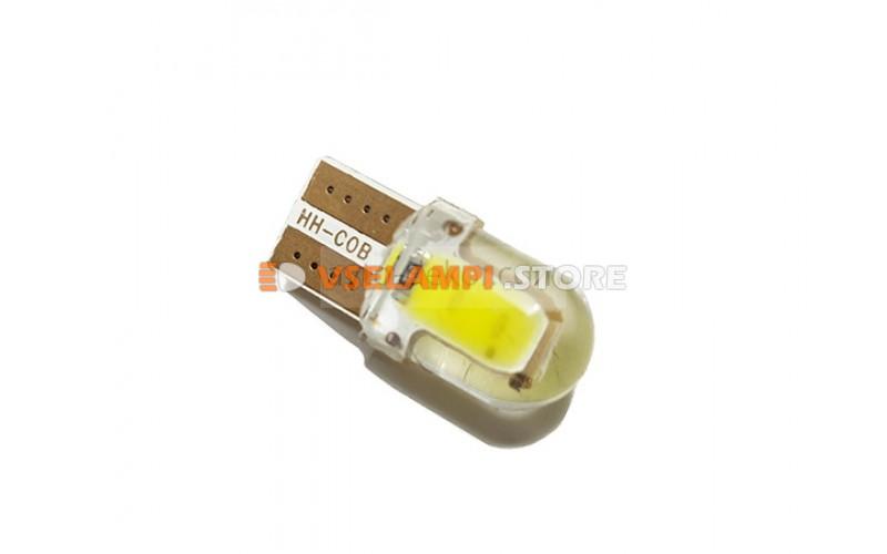 Диод 12v Т10 2 COB силикон 22мм белый