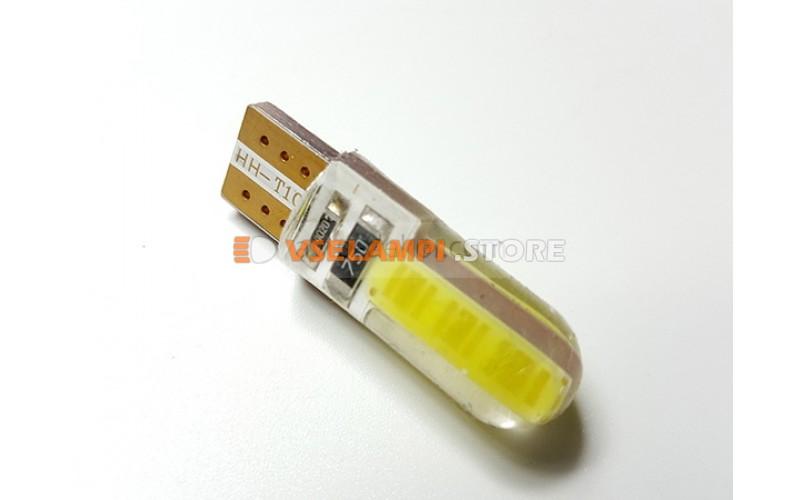 Диод 12v Т10 2 COB силикон 32мм обманка, белый