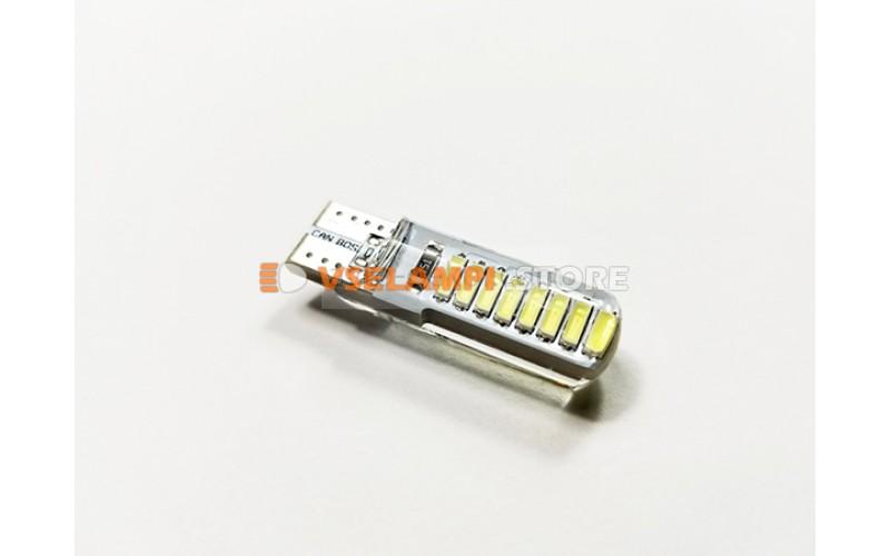 Диод 12v Т10 16 SMD силикон 34мм, белый