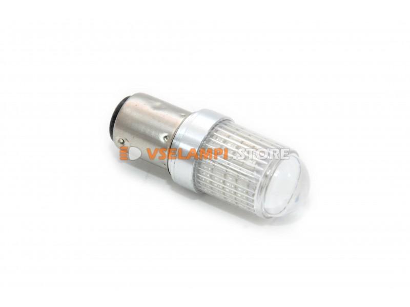 Светодиод 12v T25 66SMD линза 1 конт. - цвет свечения желтый