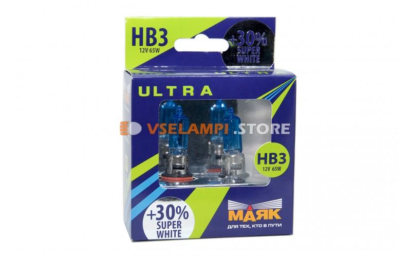 Галогенные лампы Маяк Super White +30% комплект 2шт. - цоколь HB3
