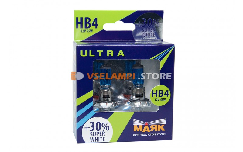 Галогенные лампы Маяк Super White +30% комплект 2шт. - цоколь HB4