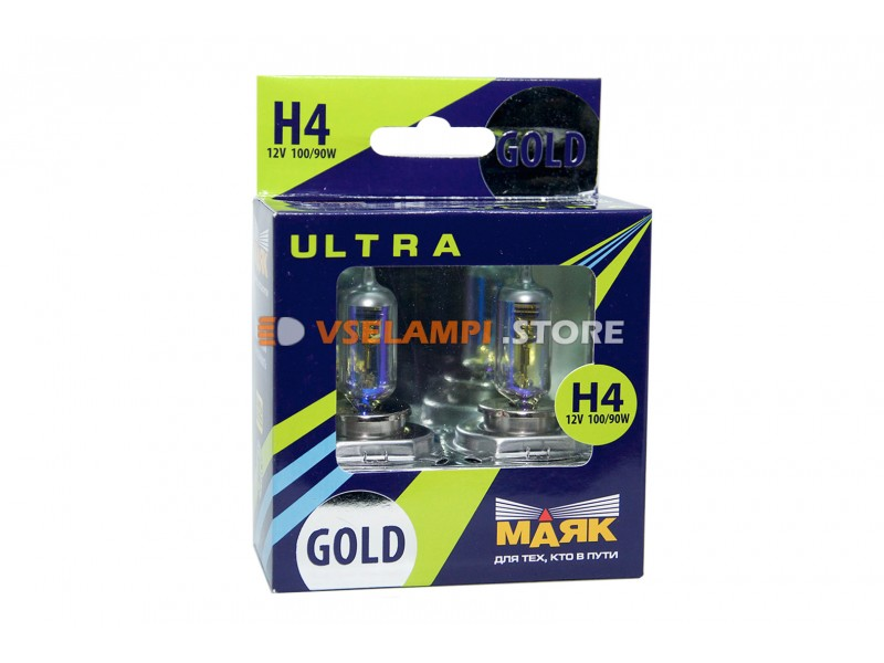Галогенные лампы Маяк GOLD +60% комплект 2шт. - цоколь H4 100/90
