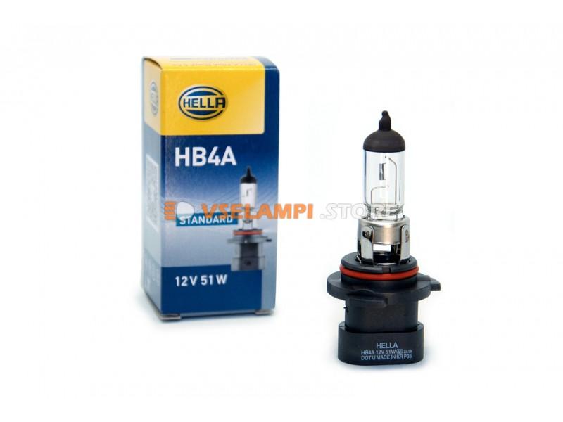 Галогеновая авто-лампа Hella Standart, 12v, цвет желтый, 1шт. - цоколь HB4A
