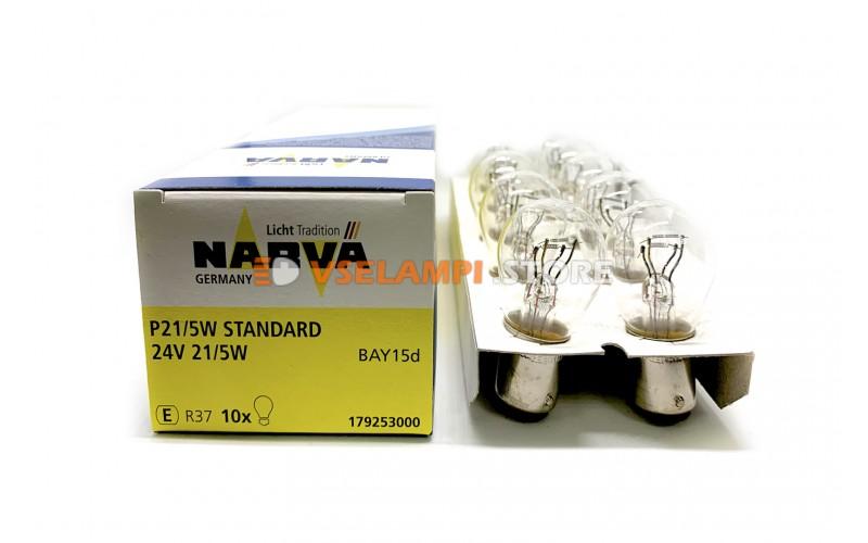 Лампа накаливания 2-контактная Narva P21/5W (BAY15d), 24v, 21/5w, цвет желтый, 1шт - 17925