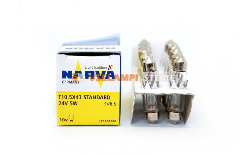 Лампа накаливания Narva Fest T10.5 C5W (SV8.5-43), 43мм, 24v, 5w, цвет желтый, 1шт - 17185