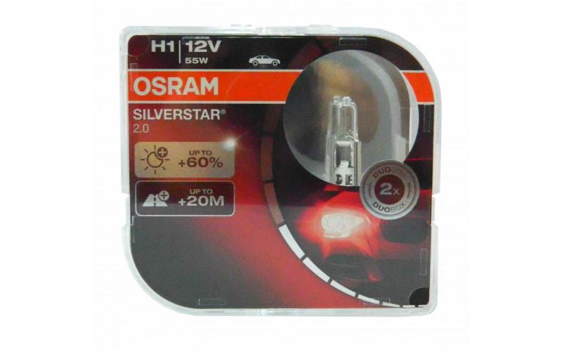 Галогенные лампы OSRAM SILVERSTAR 2.0 +60% света комплект 2шт. (остатки)