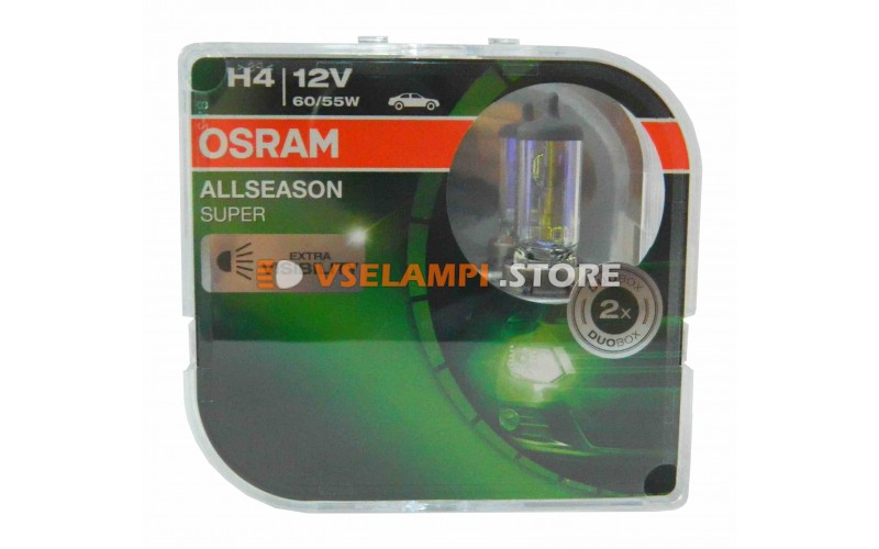 Комплект галогеновых авто-ламп OSRAM ALLSEASON SUPER +30% - EURO BOX, 12v, 60/55w, цвет желтый, 2шт.
