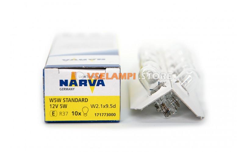 Лампа накаливания 1-контактная б/ц Narva W5W (W2.1x9.5d), 12v, 5w, цвет желтый, 1шт - 17177