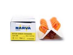 Авто-лампочка б/ц Narva WY5W (W2.1x9.5d), 1 конт, 12v, 5w, оранжевый