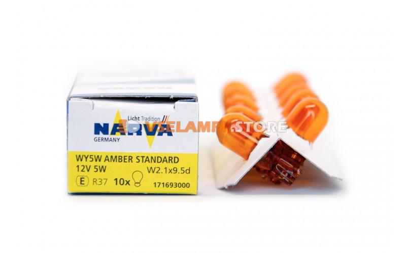 Лампа накаливания 1-контактная б/ц Narva WY5W (W2.1x9.5d), 12v, 5w, цвет оранжевый, 1шт - 17169