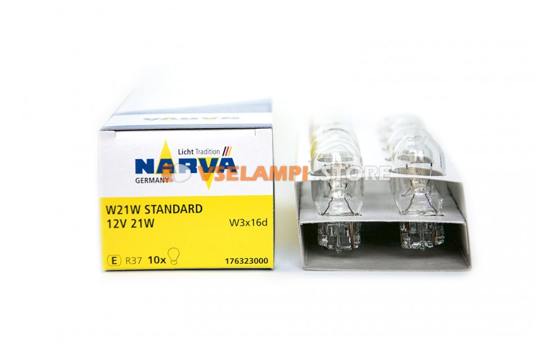 Лампа накаливания 1-контактная б/ц Narva W21W (W3x16d), 12v, 21w, цвет желтый, 1шт - 17632