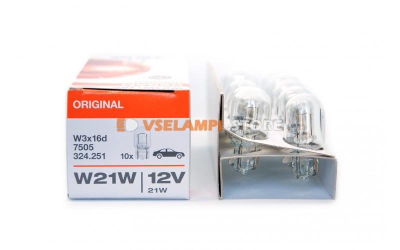 Авто-лампочка OSRAM W21W 12v W3x16d стекл. цоколь 7505