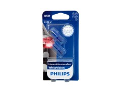 Авто-лампочка PHILIPS White Vision W5W 12v 5w (W2,1x9,5d) (габ. без цок.) (голуб. спектр 4300К) 12961NBVB2