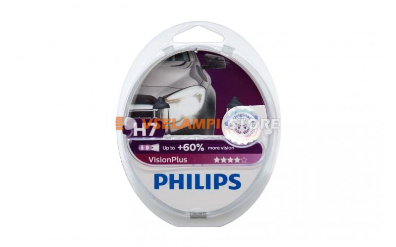 Галогенные лампы PHILIPS Vision Plus +60% комплект 2шт. - цоколь H7