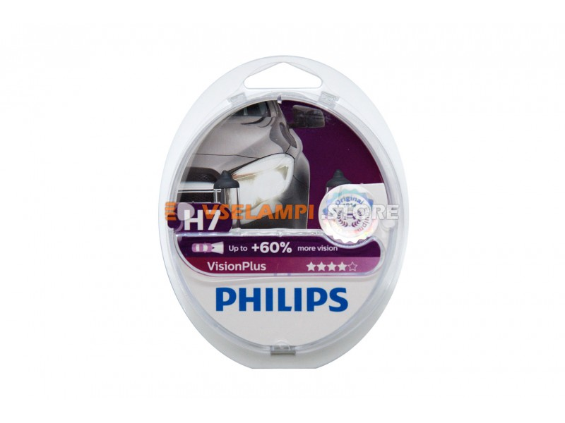 Галогенные лампы PHILIPS Vision Plus +60% комплект 2шт. - цоколь H1