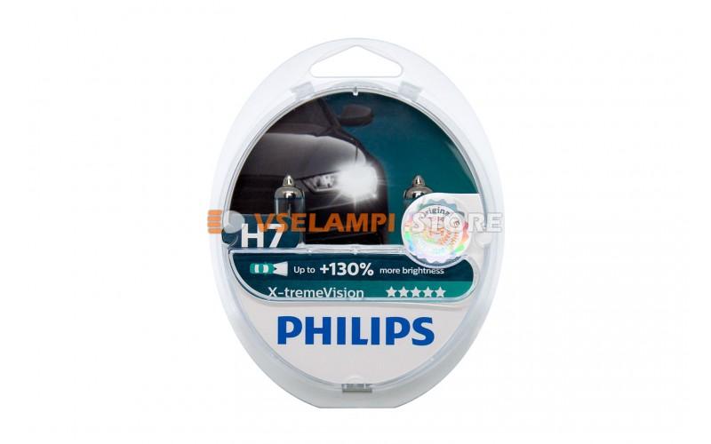 Галогенные лампы PHILIPS X-treme Vision +130% комплект 2шт. - цоколь H7