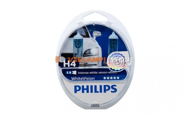 Галогенные лампы Philips White Vision комплект 2шт - цоколь H4