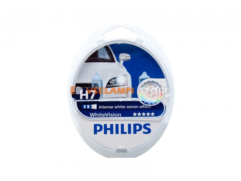 Галогенные лампы Philips White Vision комплект 2шт - цоколь H7