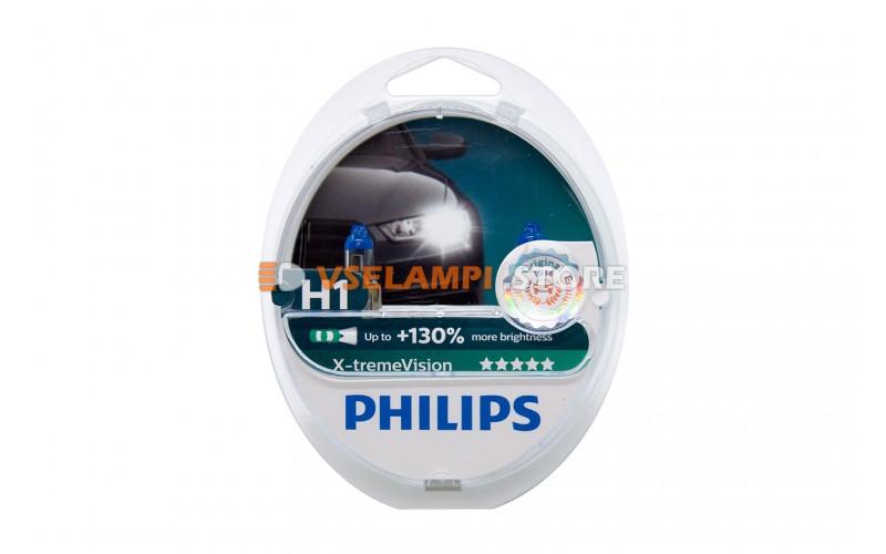 Галогенные лампы PHILIPS X-treme Vision +130% комплект 2шт. - цоколь H1