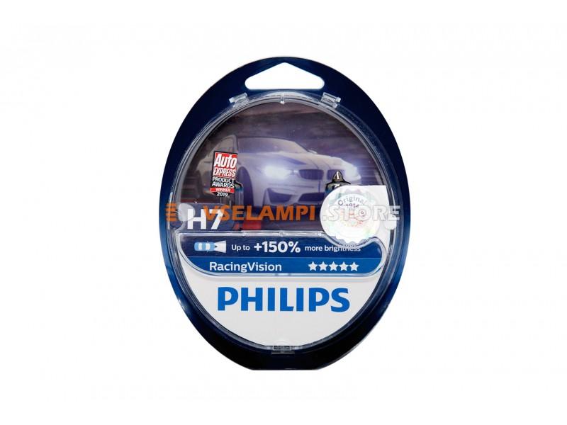Галогенные лампы PHILIPS Racing Vision +150% комплект 2шт. - цоколь H4