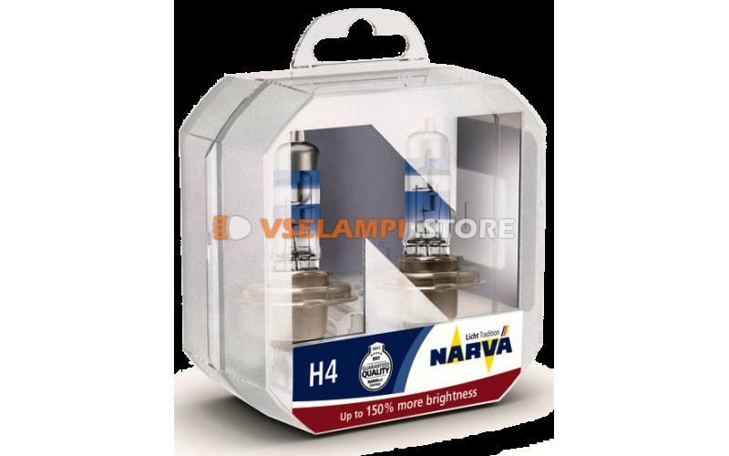 Галогенные лампы Narva - Range Power +150% комплект 2шт. - цоколь H4