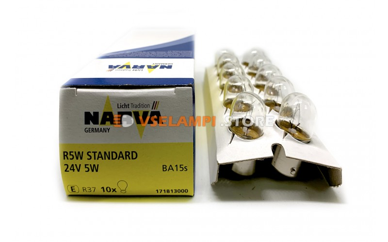 Лампа накаливания 1-контактная Narva R5W (BA15s), 24v, 5w, цвет желтый, 1шт - 17181