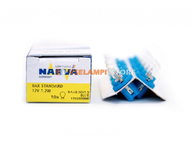 Лампа накаливания приборная Narva Blue W1.2W BAX (BAX8.5d/1.5), ВДО, 12v, 1.2w, цвет желтый, 1шт - 17029