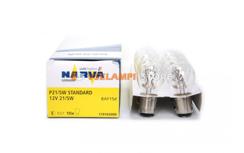 Лампа накаливания 2-контактная Narva P21/5W (BAY15d), 12v, 21/5w, цвет желтый, 1шт - 17916