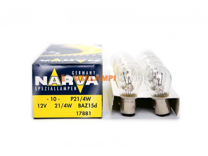 Лампа накаливания 2-контактная Narva P21/4W (BAZ15d), 12v, 21/4w, цвет желтый, 1шт - 17881