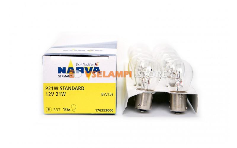 Лампа накаливания 1-контактная Narva P21W (BA15s), 12v, 21w, цвет желтый, 1шт - 17635