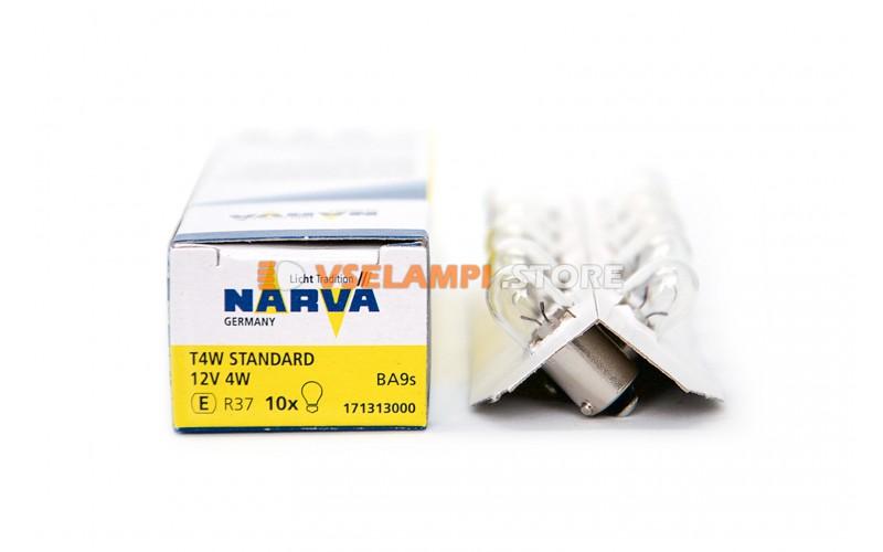 Лампа накаливания 1-контактная Narva T4W (BA9s), 12v, 4w, цвет желтый, 1шт - 17131